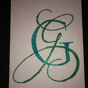 Monogram G g Rhinestone on regular paper